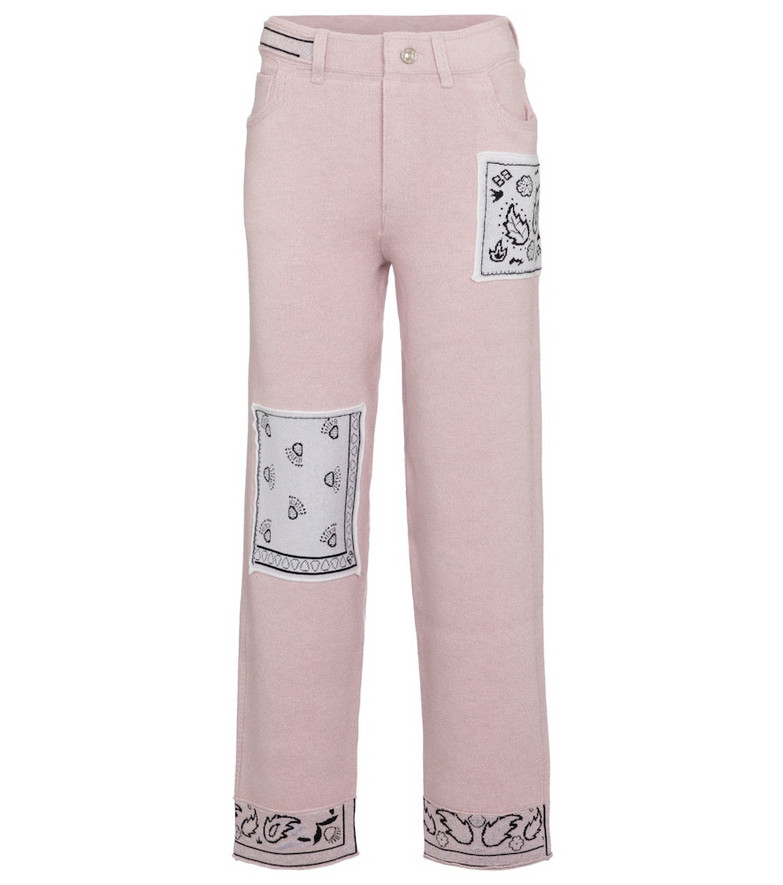 Barrie Exclusive to Mytheresa – Bandana-print cashmere-blend straight pants in pink