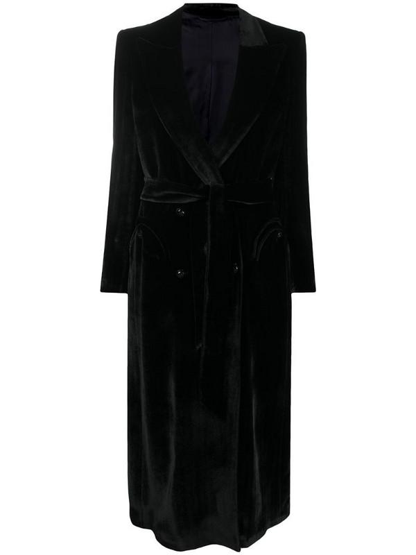 Blazé Milano double-breasted velvet coat in black