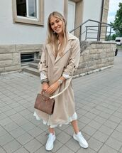 coat,trench coat,double breasted,white sneakers,white dress,midi dress,handbag