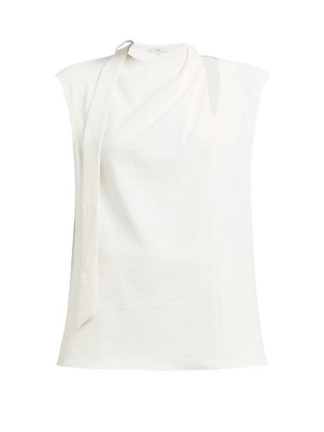Tibi - Draped Tie Crepe Top - Womens - Ivory