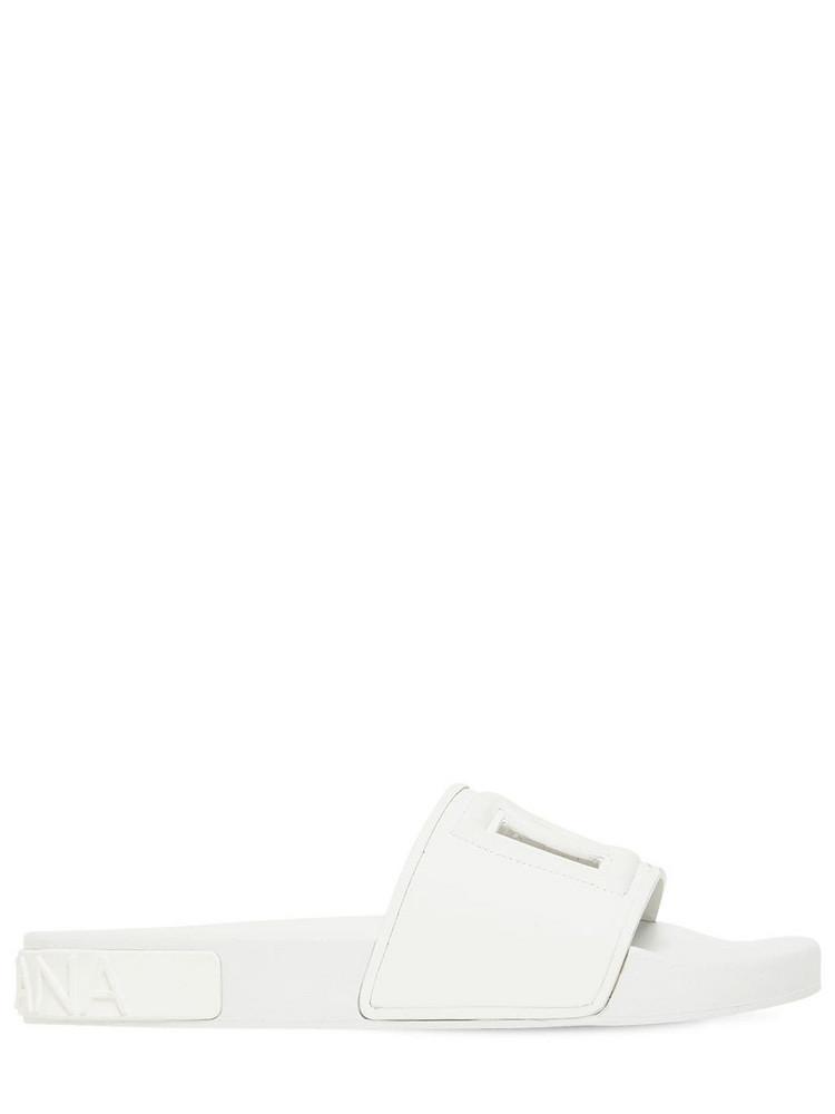 DOLCE & GABBANA 20mm Saint Barth Rubber Slide Sandals in white