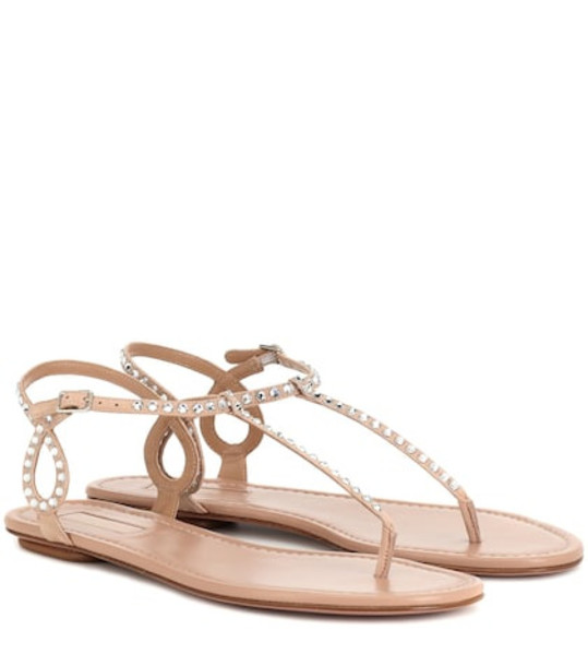 Aquazzura Almost Bare embellished suede sandals in beige