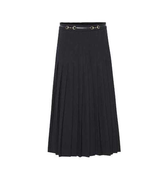 Gucci Pleated wool-blend skirt in blue