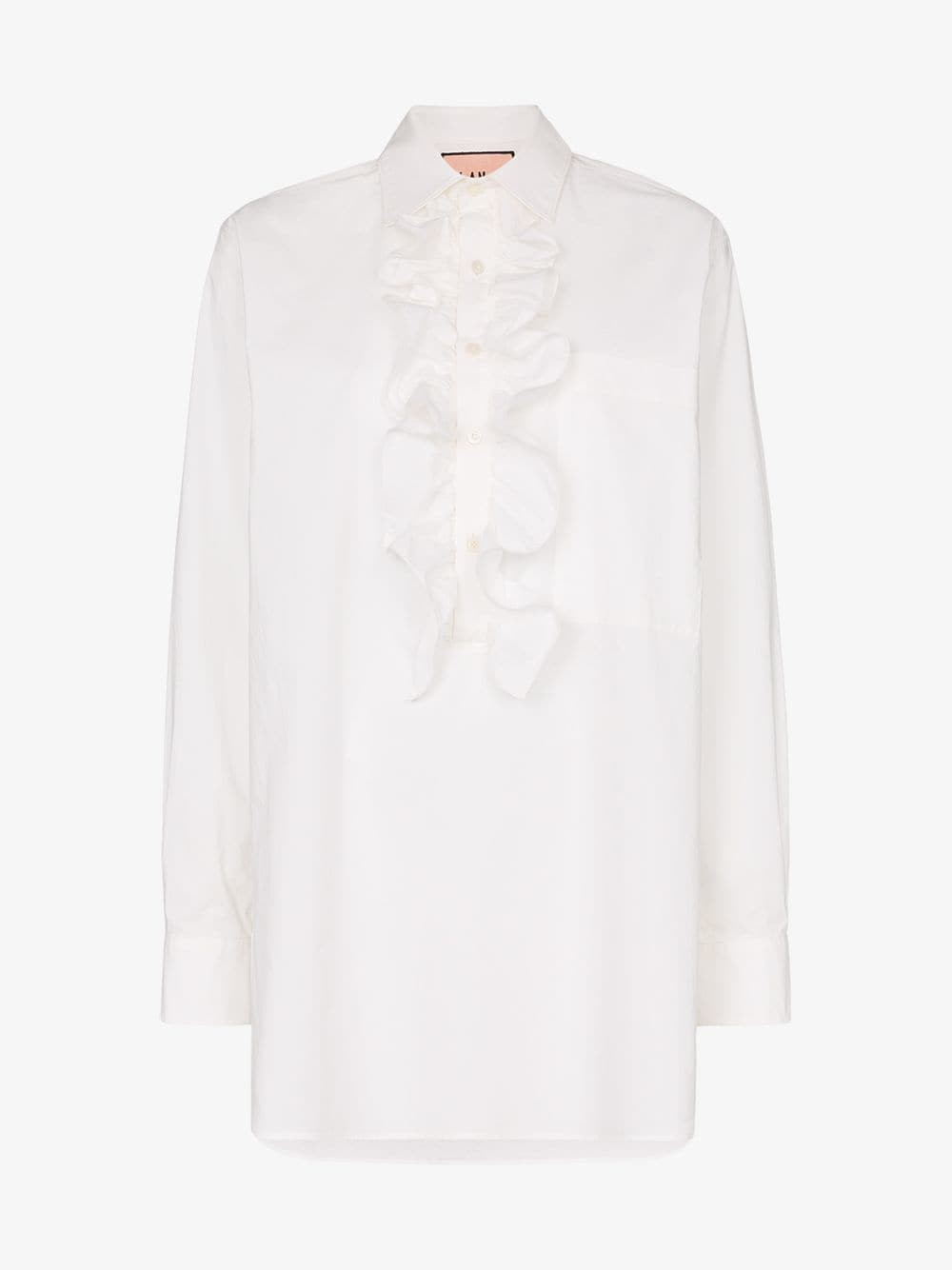 Plan C ruffle placket cotton shirt in white