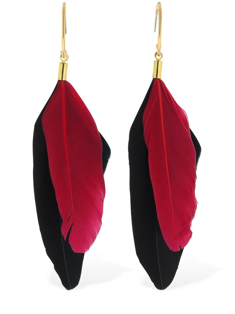 MERCEDES SALAZAR Chaman Faux Feathers Hoop Earrings in black / pink