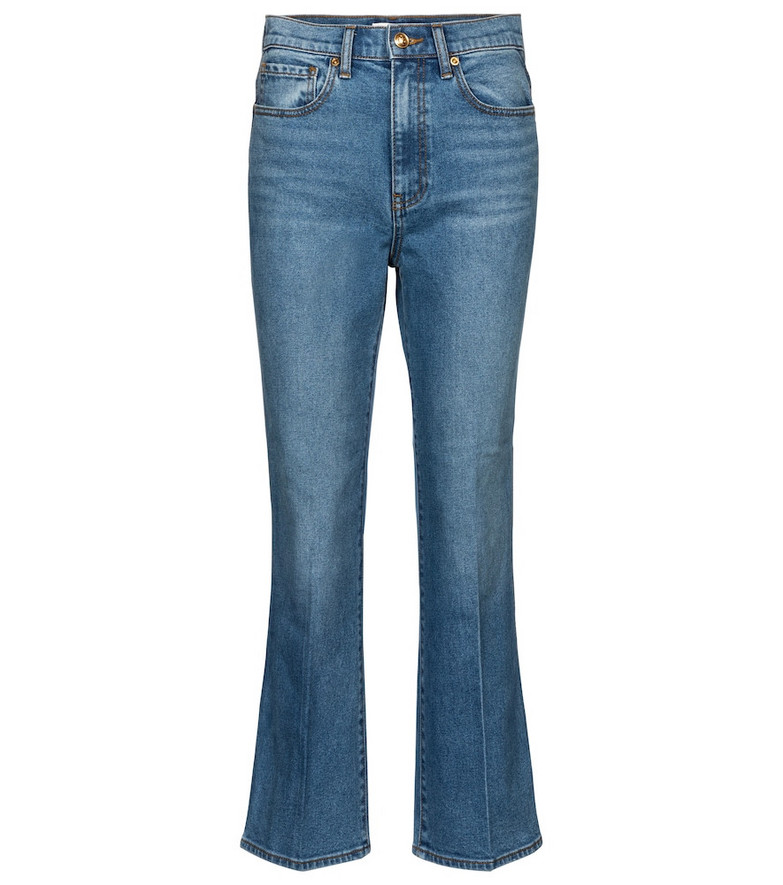 Tory Burch Mid-rise cropped jeans in blue