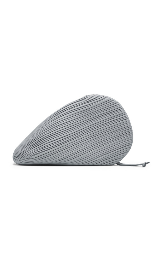 Neous Pluto Pleated Leather Swirl Clutch in grey