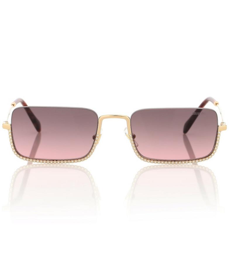 Miu Miu Embellished rectangle sunglasses in pink