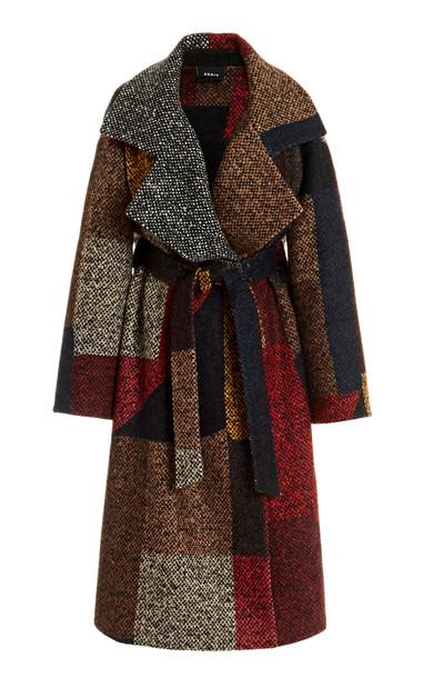 Akris Imola Printed Boucle Coat in multi