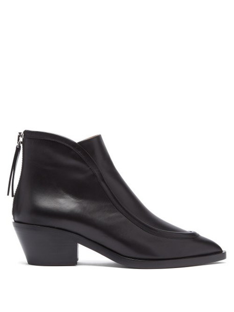 Jil Sander - Pointed Toe Western Leather Ankle Boots - Womens - Black