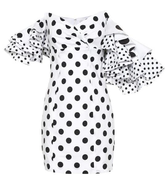Caroline Constas Polka-dot stretch-cotton minidress in white