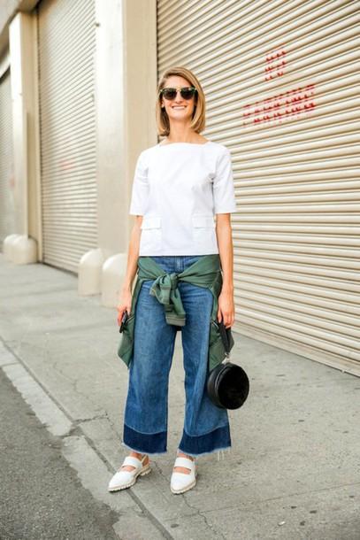 le fashion image blogger blouse jacket bag jeans streetwear hippie white blouse topshop