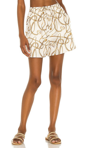 Tell Your Friends Lounge Short in Cream in print