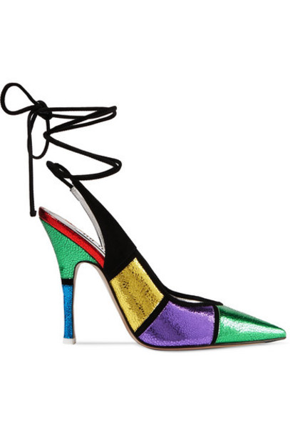 Attico - Monia Suede-trimmed Paneled Metallic Textured-leather Pumps - Green