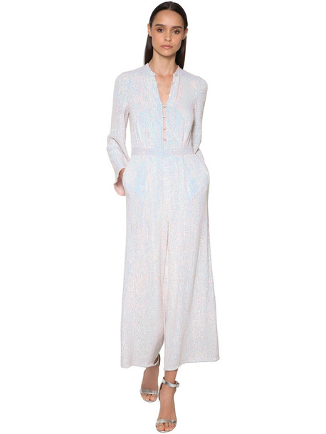 TEMPERLEY LONDON Sequined Wide Leg Iridescent Jumpsuit in silver