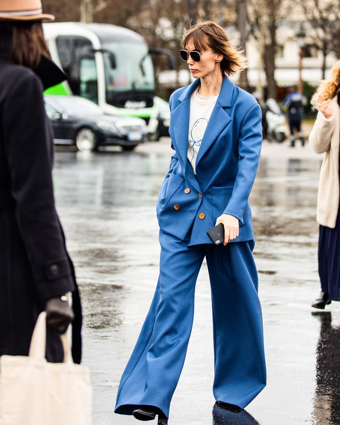 pants wide-leg pants blue pants blazer double breasted black boots white top