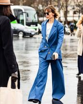 pants,wide-leg pants,blue pants,blazer,double breasted,black boots,white top