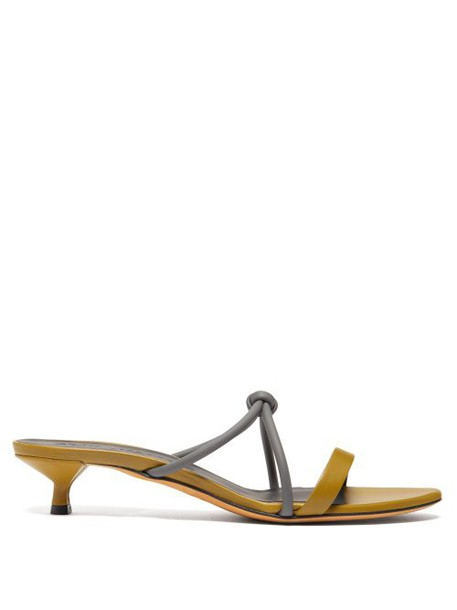 Gray Matters - Neon Bi Colour Leather Sandals - Womens - Khaki Multi