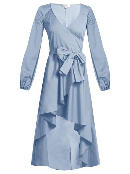 Caroline Constas - Lena Asymmetric Hem Cotton Blend Wrap Dress - Womens - Blue