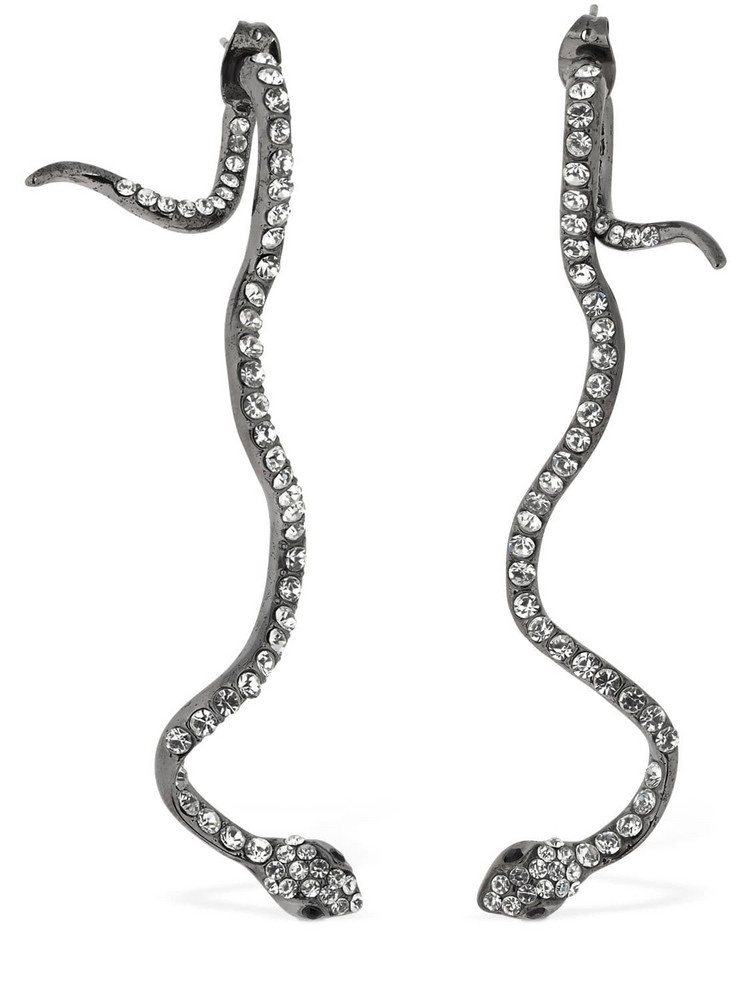 FEDERICA TOSI Long Snake Brass & Crystal Earrings in black / white