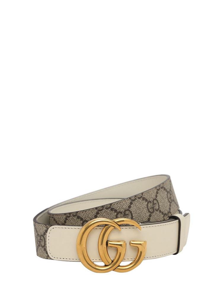 GUCCI 3cm Gg Marmont Supreme Belt in white