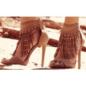Women's Brown Tassels Open Toe Stiletto Heel Ankle Strap Sandals