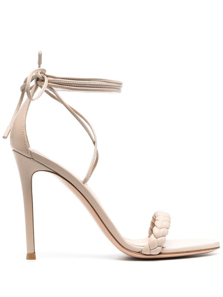 Gianvito Rossi Leomi 115mm lace-up sandals in neutrals