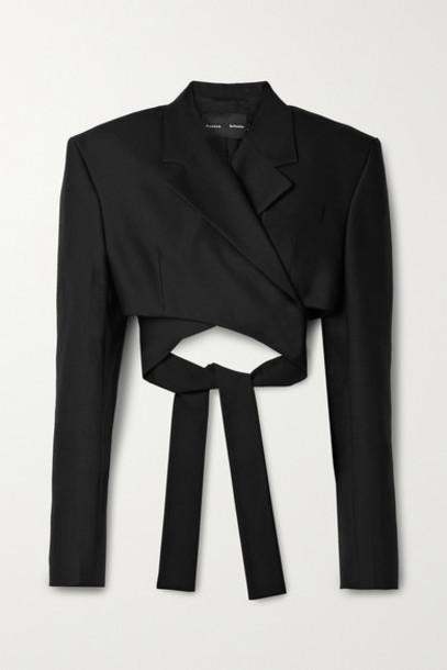 Proenza Schouler - Cropped Wool-blend Crepe Blazer - Black