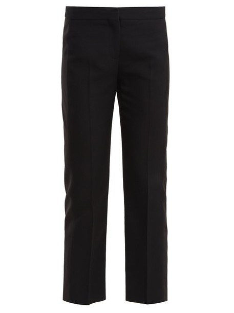 Alexander Mcqueen - Side Panel Wool Blend Cropped Trousers - Womens - Black