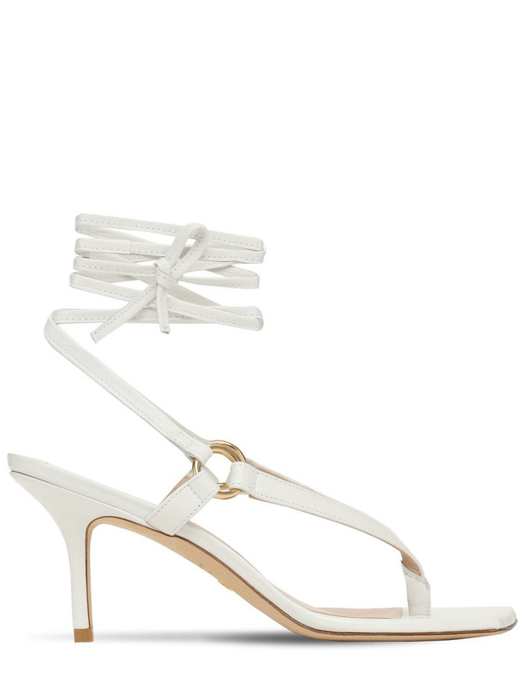 STUART WEITZMAN 75mm Lalita Leather Thong Sandals in white