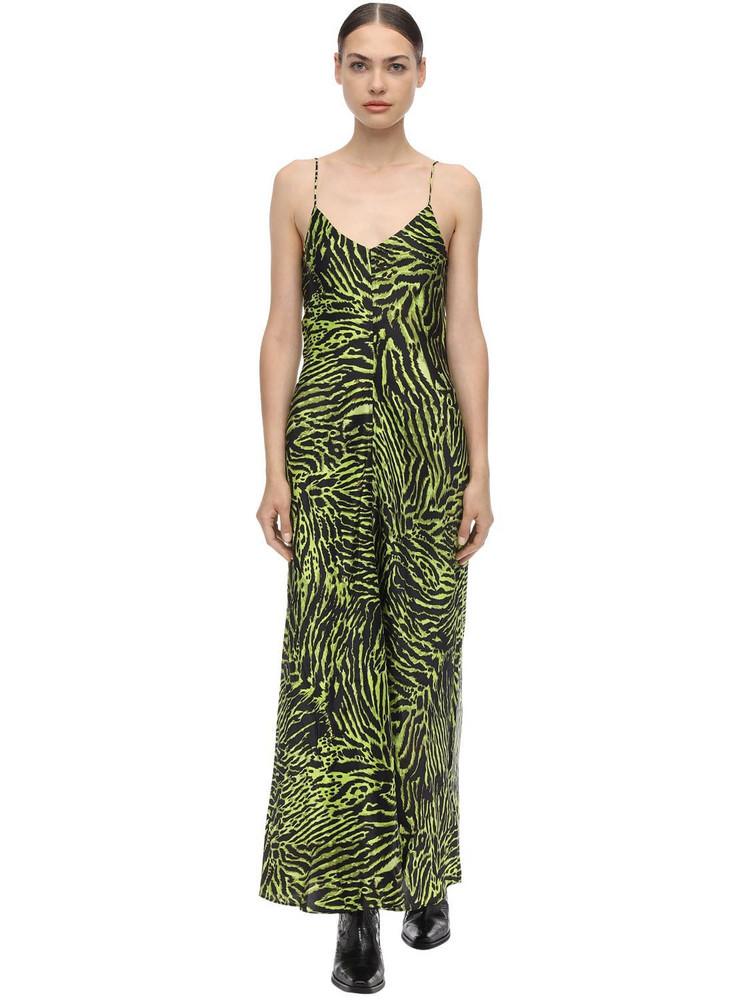 GANNI Stretch Silk Satin Midi Cami Dress in green