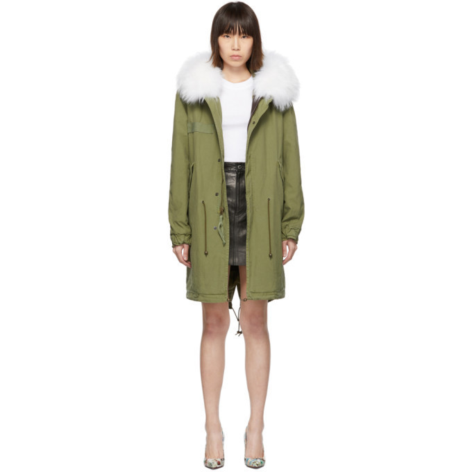 Mr and Mrs Italy Mr & Mrs Italy Green Long Fur Army Parka
