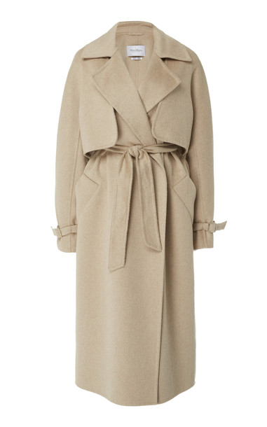Max Mara Agar Wrap Camel-Cashmere Trench Coat in brown