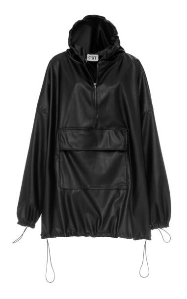 Studio Cut Hooded Faux Leather Sweatshirt in black