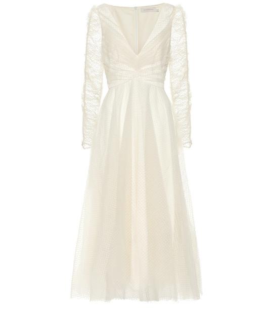 Zimmermann Polka-dot mesh dress in white