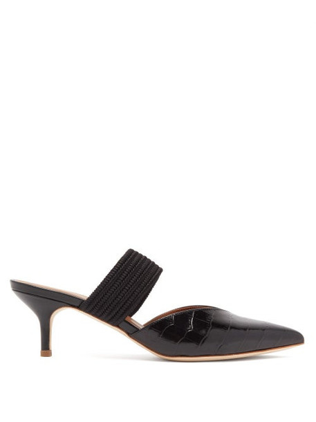 Malone Souliers - Maisie Kitten Heel Crocodile Effect Leather Mules - Womens - Black