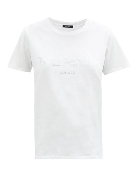 Balmain - Logo-print Cotton-jersey T-shirt - Womens - White Silver
