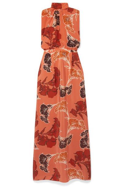 Johanna Ortiz - Momentum Embellished Floral-print Silk Crepe De Chine Maxi Dress - Orange