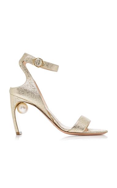 Nicholas Kirkwood Lola Pearl-Embellished Metallic Leather Sandals in gold