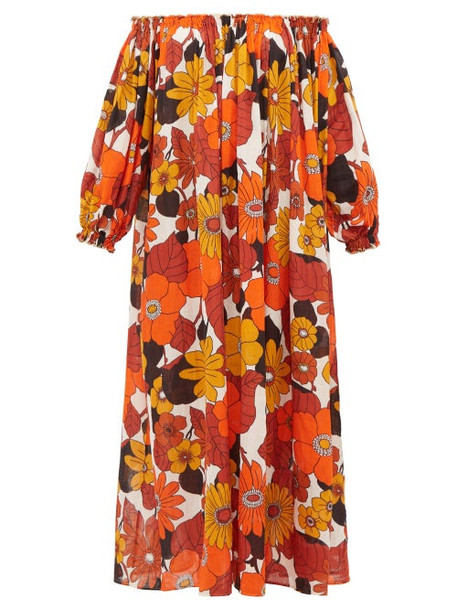 Dodo Bar Or - Off-the-shoulder Floral-print Voile Maxi Dress - Womens - Brown Print