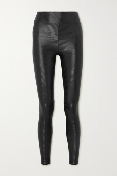 Koral - Lustrous Printed Stretch Leggings - Black
