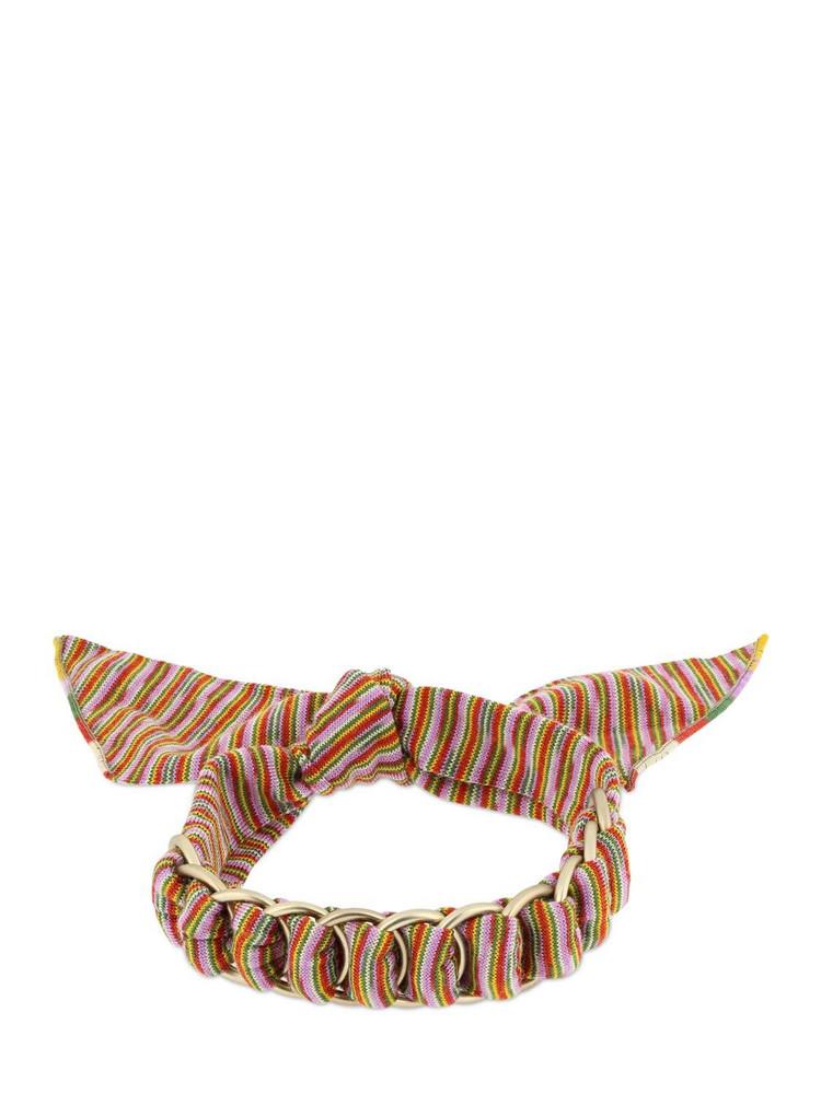 MISSONI Printed Viscose Scarf Bracelet W/ Chain in orange / pink