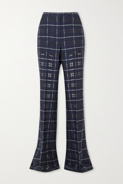 Akris - Farida Checked Cotton And Silk-blend Flared Pants - Navy