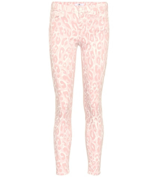 7 For All Mankind Leopard mid-rise skinny jeans in pink