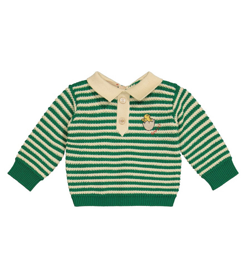 Gucci Kids Baby striped wool and cotton sweater in green