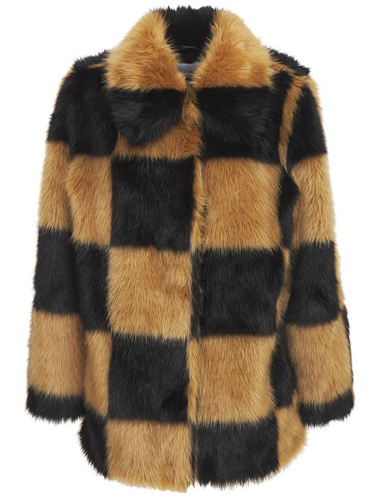 STAND STUDIO Nani Check Faux Fur Jacket in black / beige
