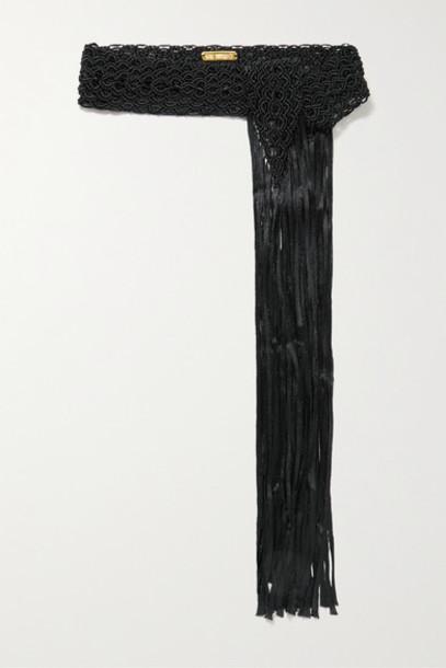 Bibi Marini - Fringed Macramé Belt - Black