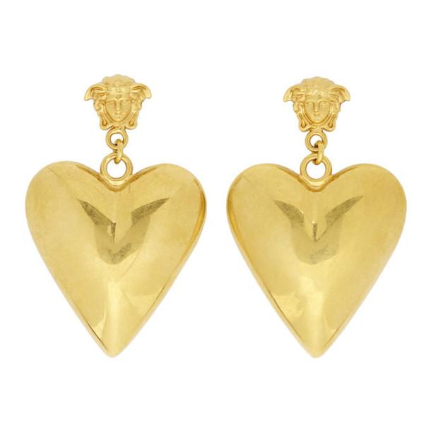 Versace Gold Medusa Heart Pendant Earrings