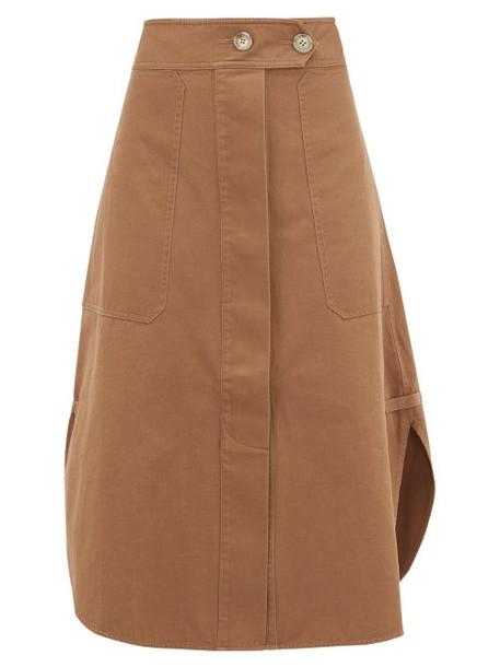 Lee Mathews - Curved Hem Cotton Skirt - Womens - Khaki