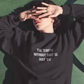 sweater,sweatshirt,black,quote on it